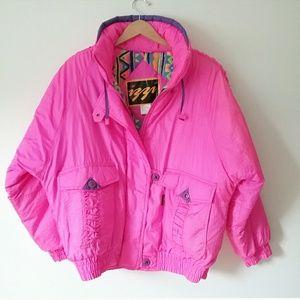 Izzi Jackets & Coats - Vintage Izzi Neon Pink Ski Snow Puffer Jacket Coat
